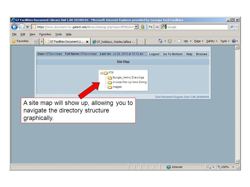 A site map will show up, allowing you to navigate the directory structure graphically.