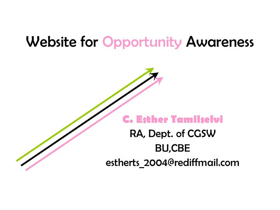 Website for Opportunity Awareness C. Esther Tamilselvi RA, Dept.