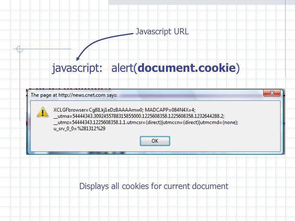 javascript: alert(document.cookie) Javascript URL Displays all cookies for current document