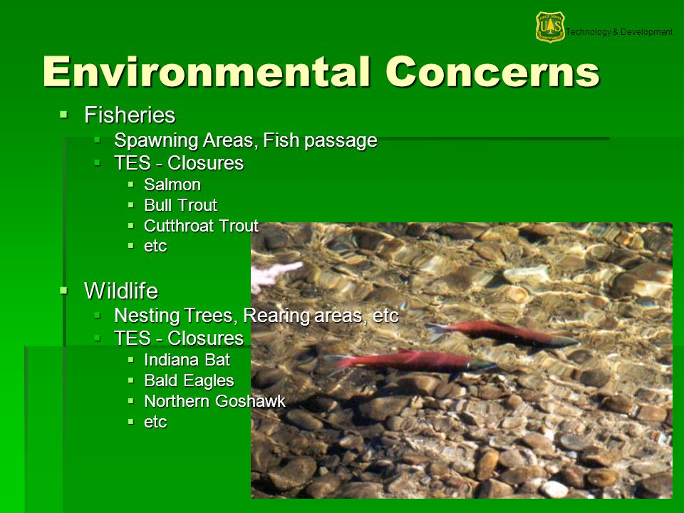 Technology & Development 17 Environmental Concerns Fisheries Fisheries Spawning Areas, Fish passage Spawning Areas, Fish passage TES - Closures TES -