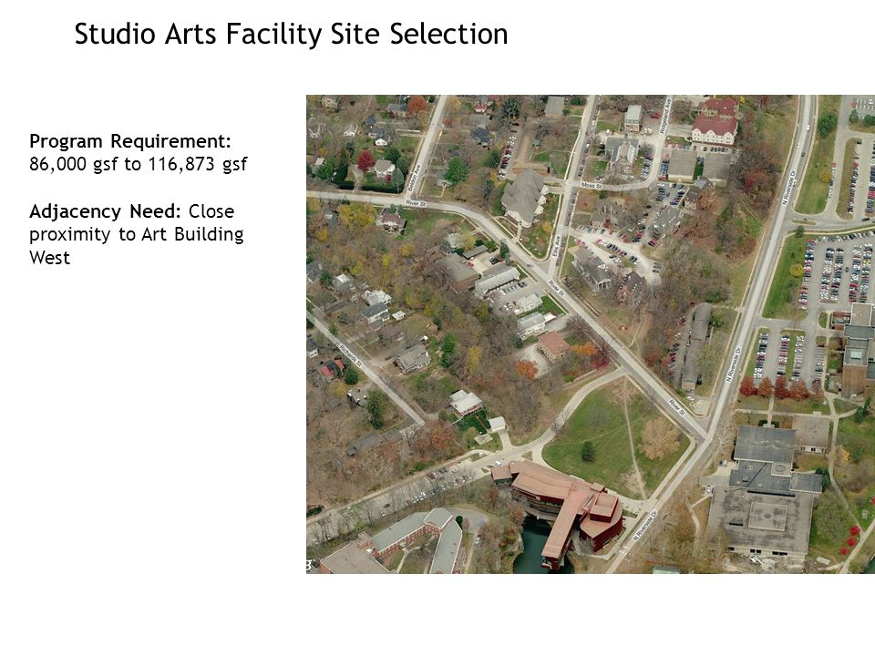 Studio Arts Facility Site Selection Program Requirement: 86,000 gsf to 116,873 gsf Adjacency Need: Close proximity to Art Building West