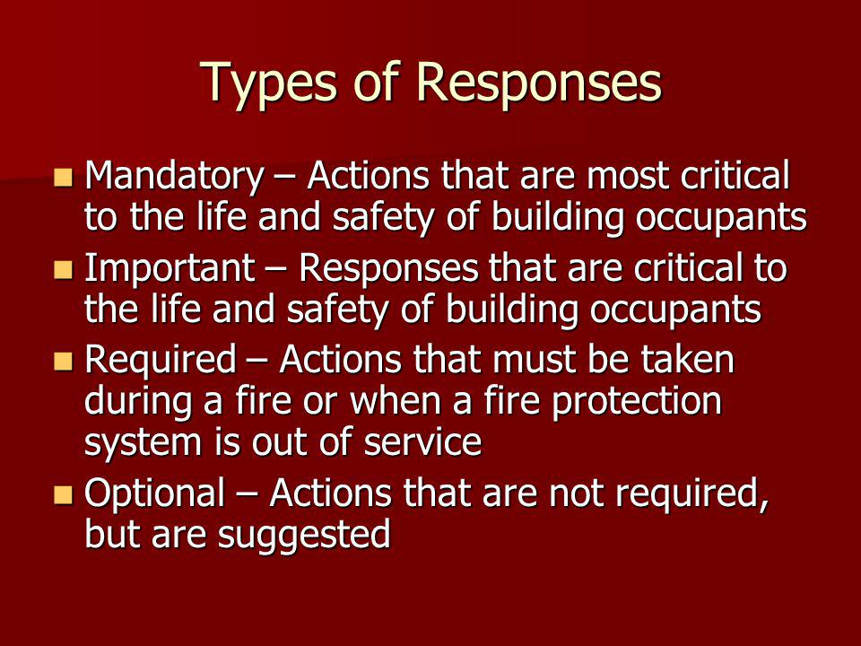Types of Responses Mandatory – Actions that are most critical to the life and safety of building occupants Mandatory – Actions that are most critical to the life and safety of building occupants Important – Responses that are critical to the life and safety of building occupants Important – Responses that are critical to the life and safety of building occupants Required – Actions that must be taken during a fire or when a fire protection system is out of service Required – Actions that must be taken during a fire or when a fire protection system is out of service Optional – Actions that are not required, but are suggested Optional – Actions that are not required, but are suggested
