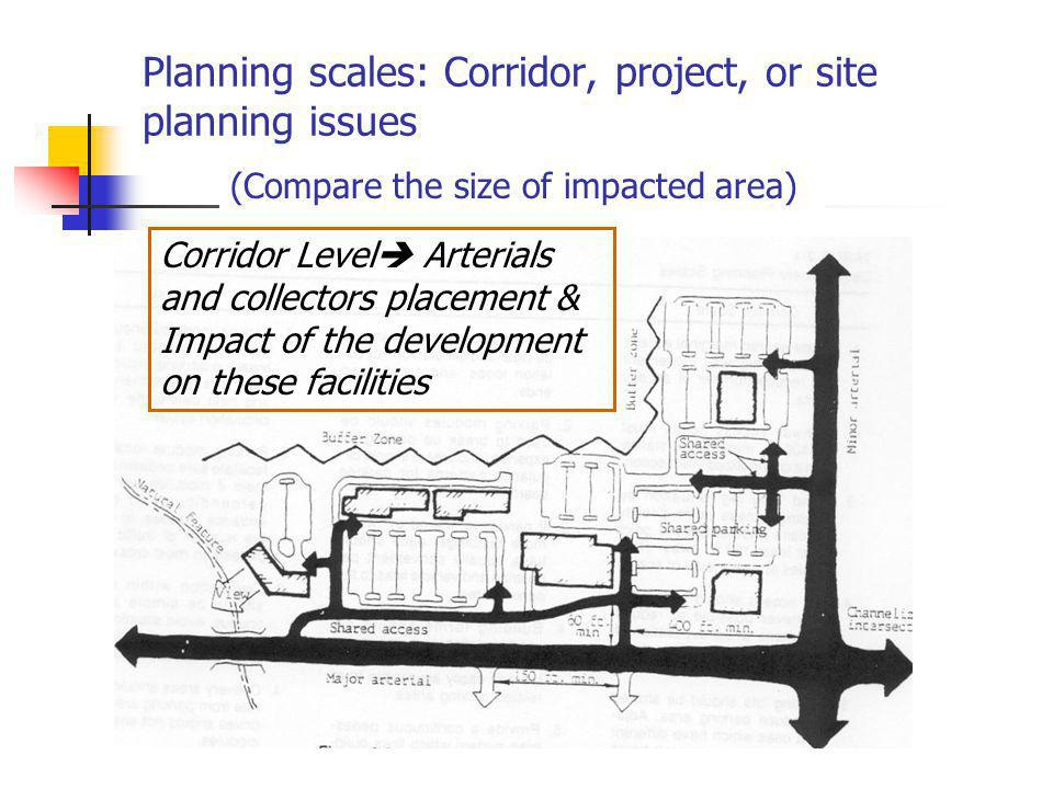 Planning scales: Corridor, project, or site planning issues (Compare the size of impacted area) Corridor Level Arterials and collectors placement & Im