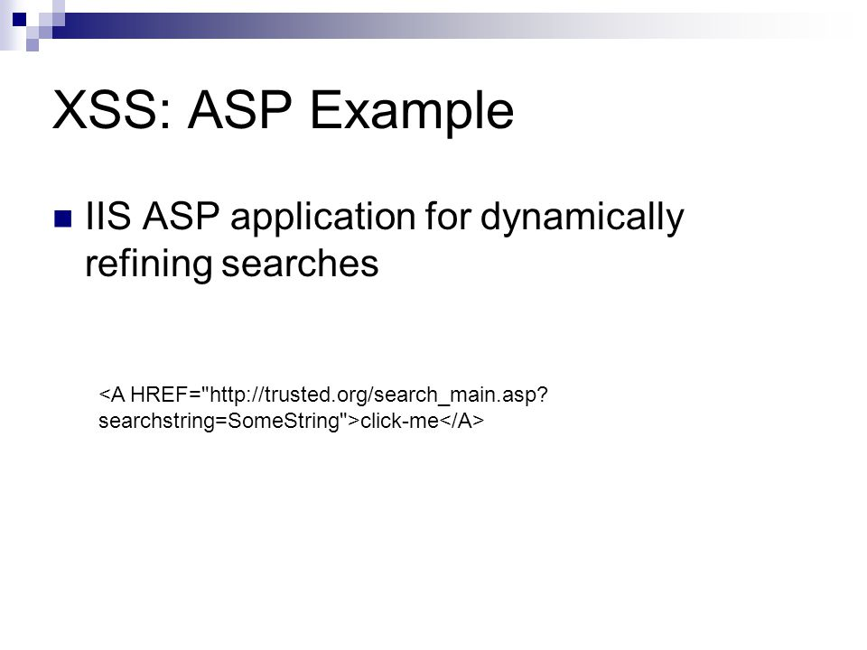 XSS: ASP Example IIS ASP application for dynamically refining searches click-me