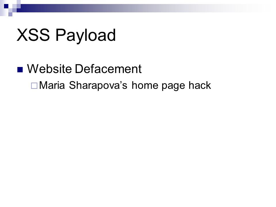 XSS Payload Website Defacement Maria Sharapovas home page hack