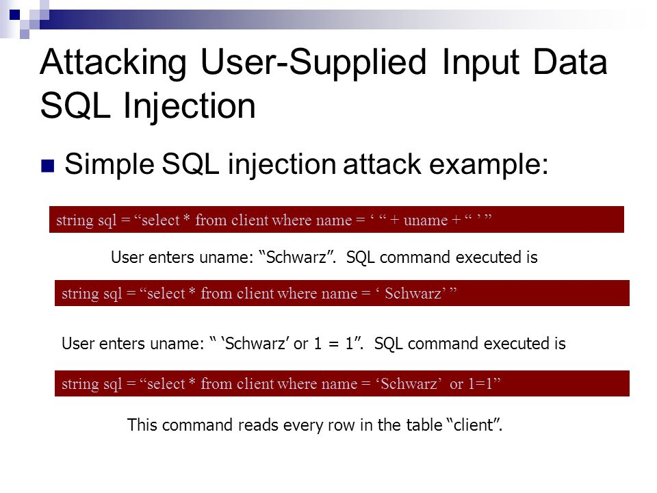 Attacking User-Supplied Input Data SQL Injection Simple SQL injection attack example: string sql = select * from client where name = + uname + User en