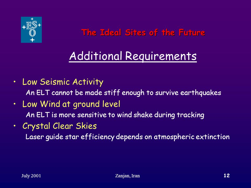 July 2001Zanjan, Iran12 The Ideal Sites of the Future Additional Requirements Low Seismic Activity An ELT cannot be made stiff enough to survive earth