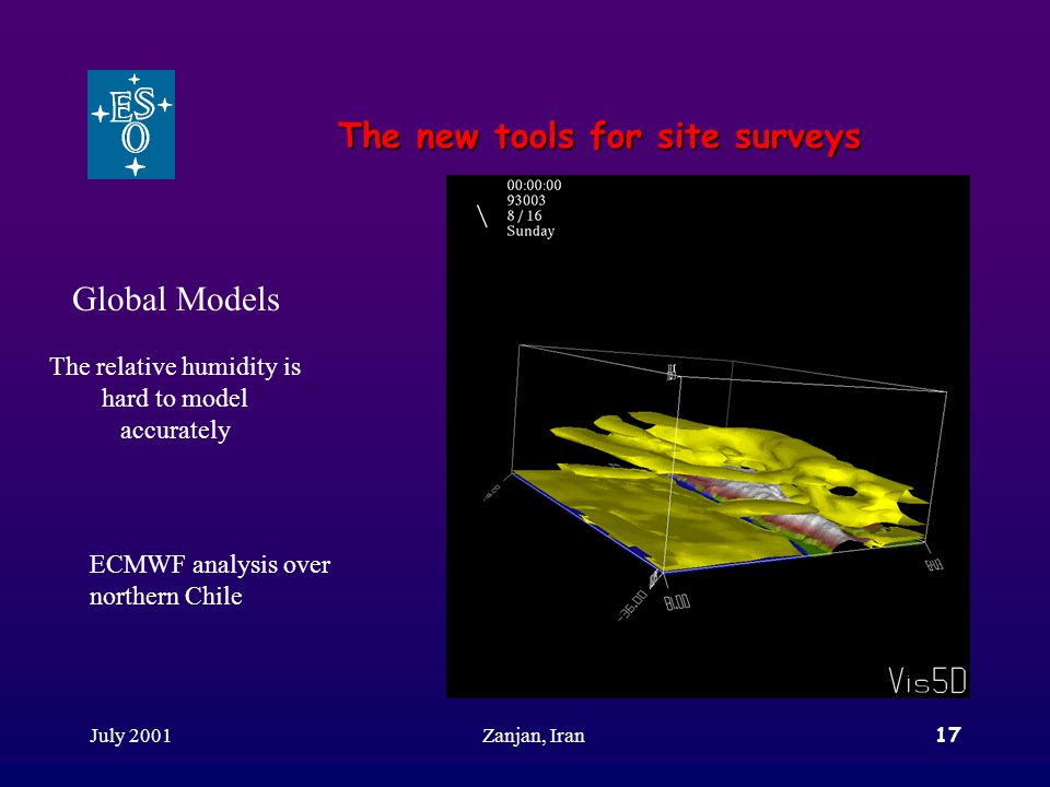 July 2001Zanjan, Iran17 The new tools for site surveys Global Models The relative humidity is hard to model accurately ECMWF analysis over northern Chile