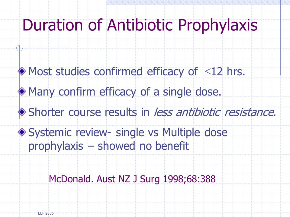LLF 2006 Duration of Antibiotic Prophylaxis Most studies confirmed efficacy of 12 hrs. Many confirm efficacy of a single dose. Shorter course results