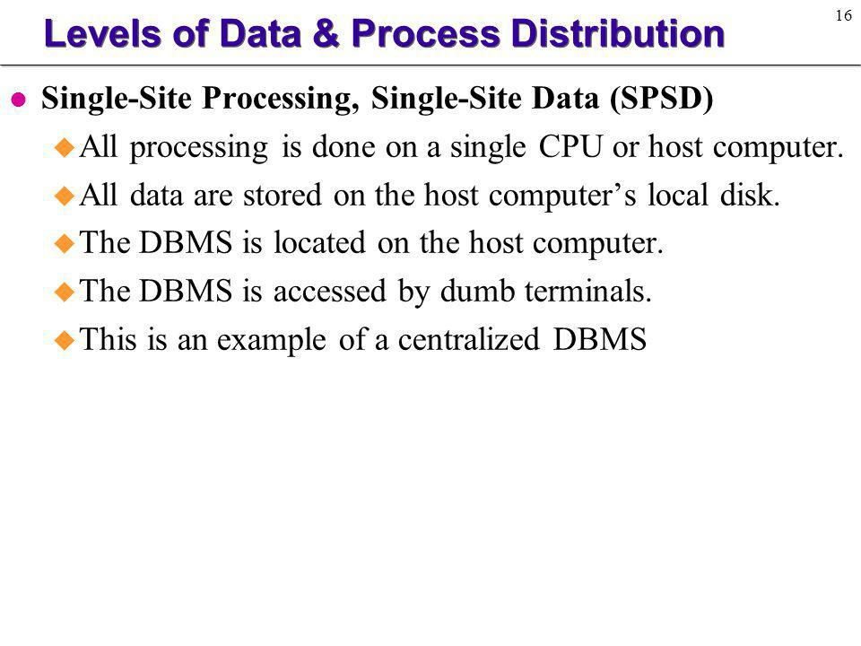 17 Levels of Data & Process Distribution Figure 10.6 Nondistributed (Centralized) DBMS