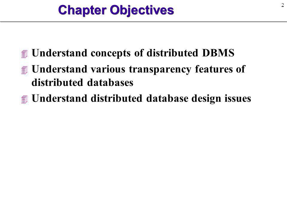2 Chapter Objectives 4 Understand concepts of distributed DBMS 4 Understand various transparency features of distributed databases 4 Understand distri