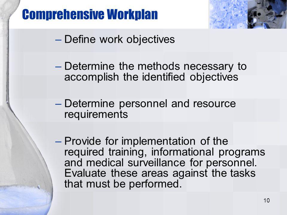 10 Comprehensive Workplan –Define work objectives –Determine the methods necessary to accomplish the identified objectives –Determine personnel and re