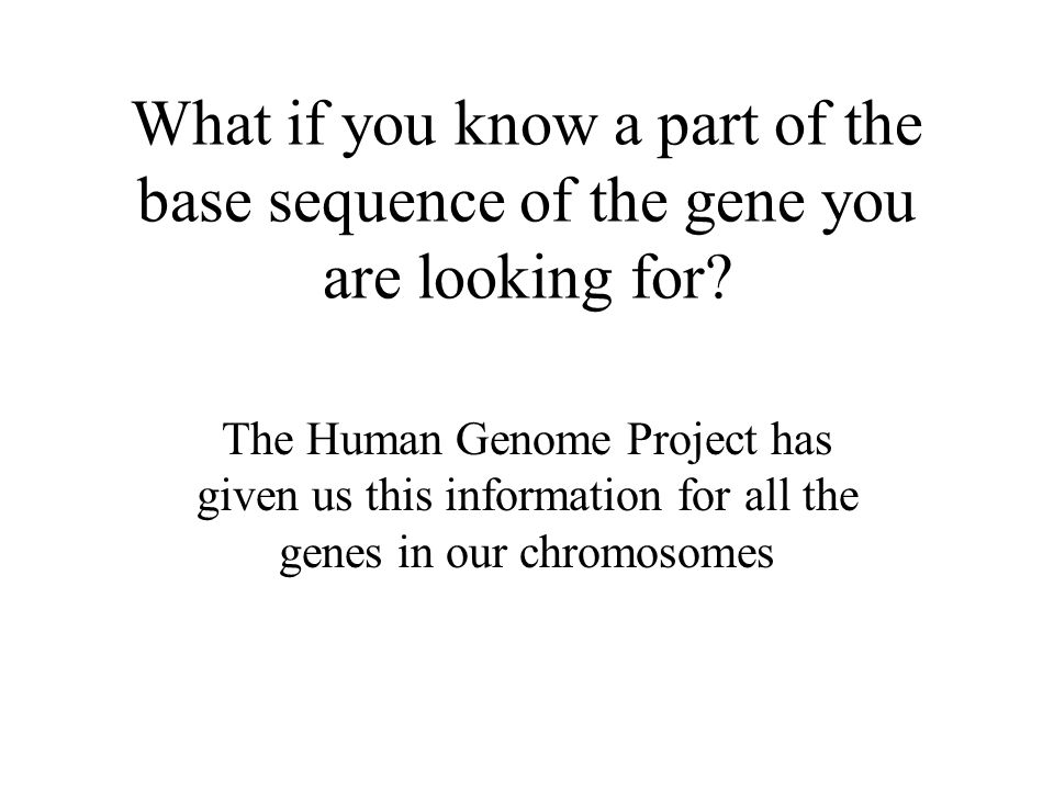 What if you know a part of the base sequence of the gene you are looking for.