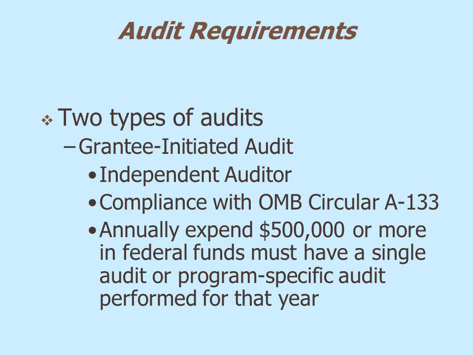 Audit Requirements Two types of audits –Grantee-Initiated Audit Independent Auditor Compliance with OMB Circular A-133 Annually expend $500,000 or mor