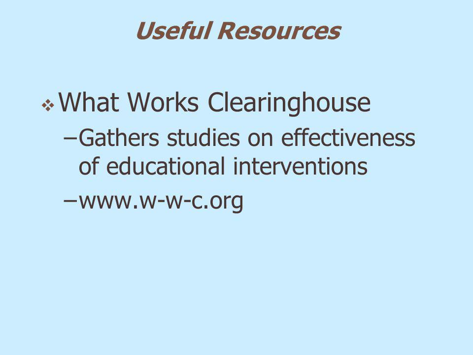 Useful Resources What Works Clearinghouse –Gathers studies on effectiveness of educational interventions –www.w-w-c.org