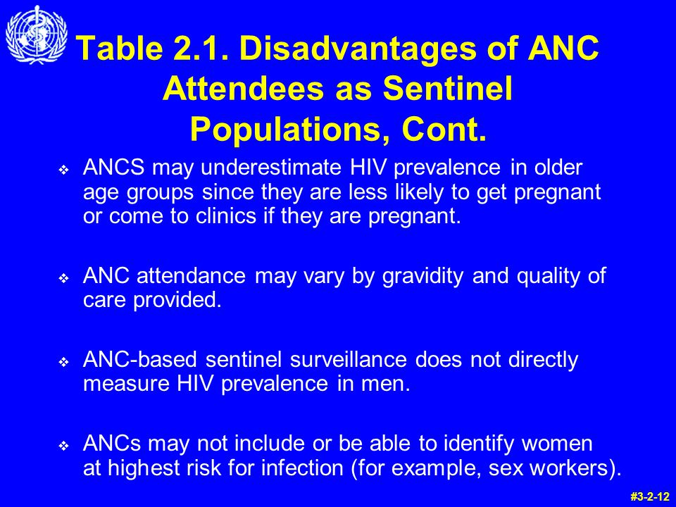 Table 2.1.Disadvantages of ANC Attendees as Sentinel Populations, Cont.