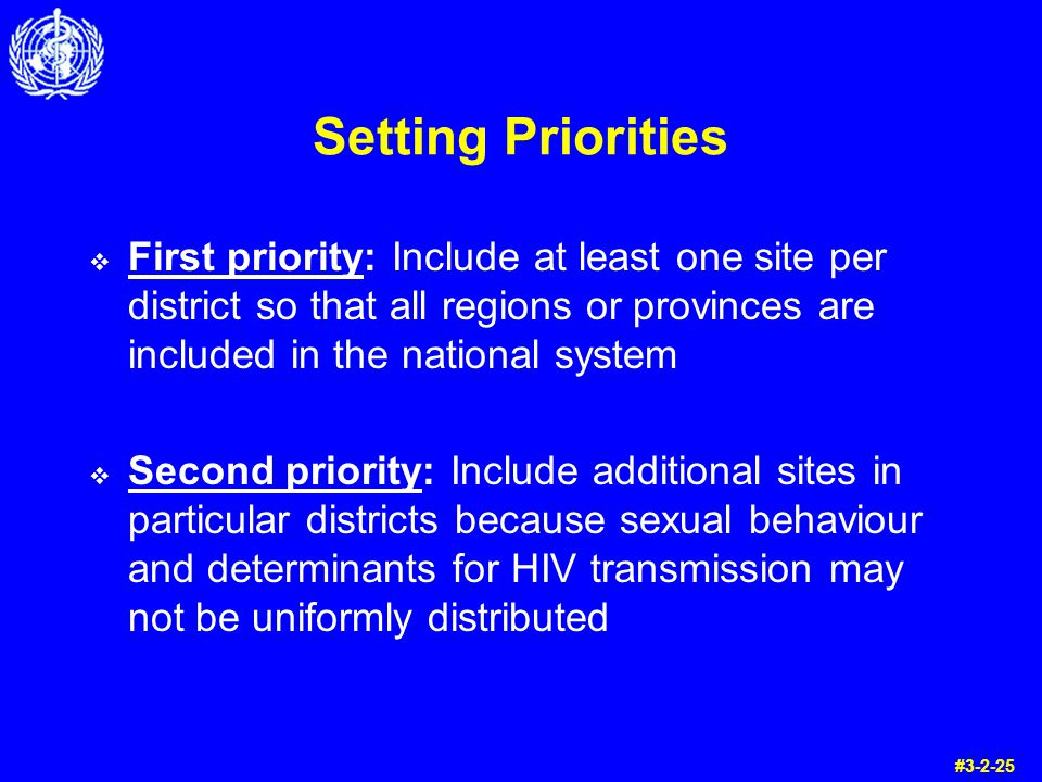 Setting Priorities First priority: Include at least one site per district so that all regions or provinces are included in the national system Second priority: Include additional sites in particular districts because sexual behaviour and determinants for HIV transmission may not be uniformly distributed #3-2-25