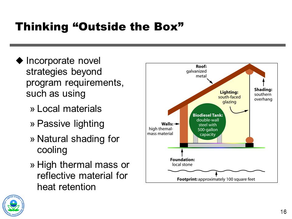 16 Thinking Outside the Box Incorporate novel strategies beyond program requirements, such as using »Local materials »Passive lighting »Natural shadin