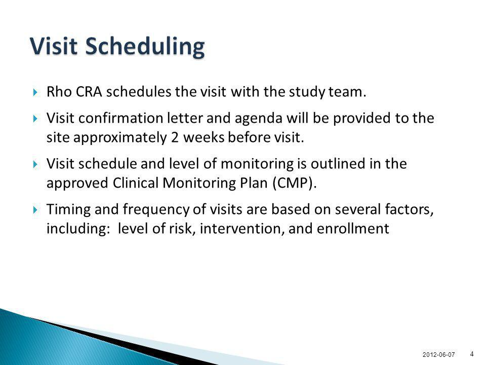 Rho CRA schedules the visit with the study team. Visit confirmation letter and agenda will be provided to the site approximately 2 weeks before visit.