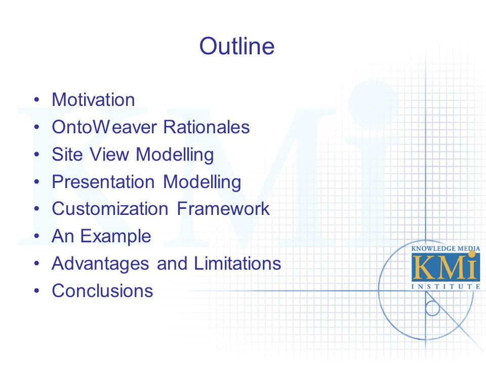 Outline Motivation OntoWeaver Rationales Site View Modelling Presentation Modelling Customization Framework An Example Advantages and Limitations Conc