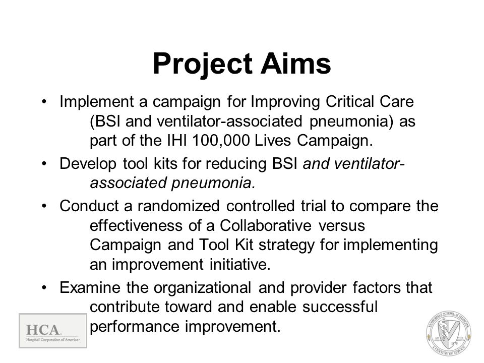 Project Aims Implement a campaign for Improving Critical Care (BSI and ventilator-associated pneumonia) as part of the IHI 100,000 Lives Campaign. Dev
