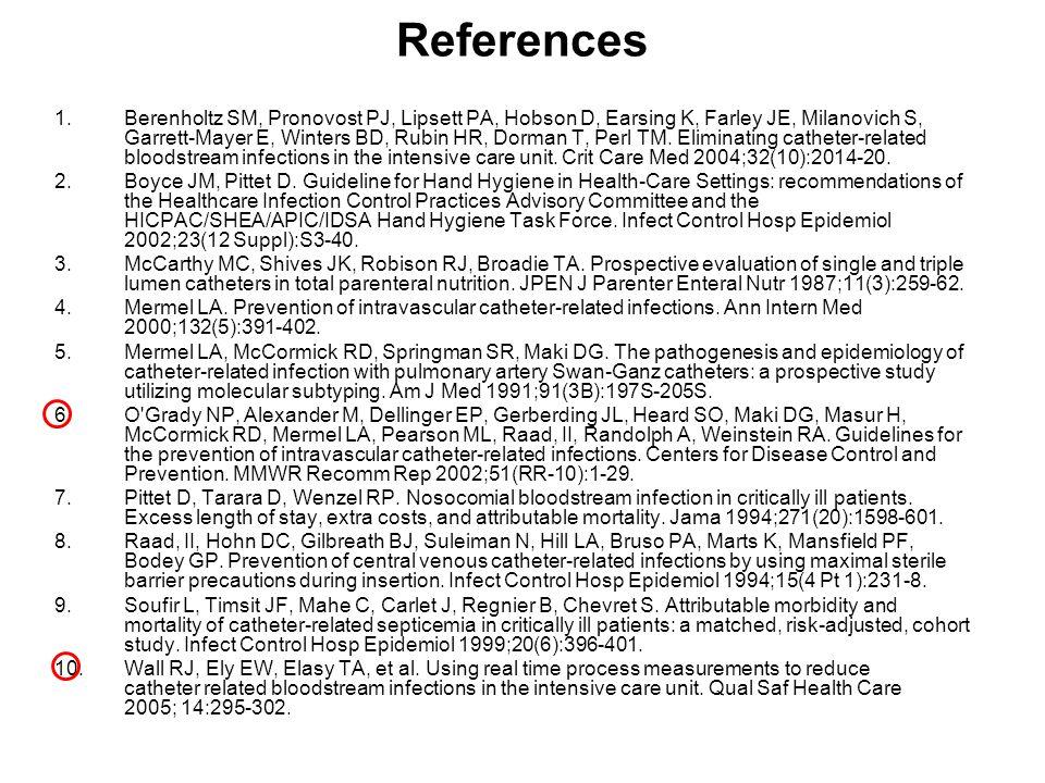 References 1.Berenholtz SM, Pronovost PJ, Lipsett PA, Hobson D, Earsing K, Farley JE, Milanovich S, Garrett-Mayer E, Winters BD, Rubin HR, Dorman T, P