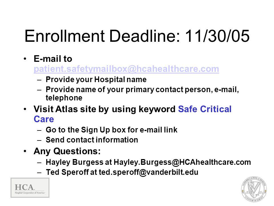 Enrollment Deadline: 11/30/05 E-mail to patient.safetymailbox@hcahealthcare.com patient.safetymailbox@hcahealthcare.com –Provide your Hospital name –P
