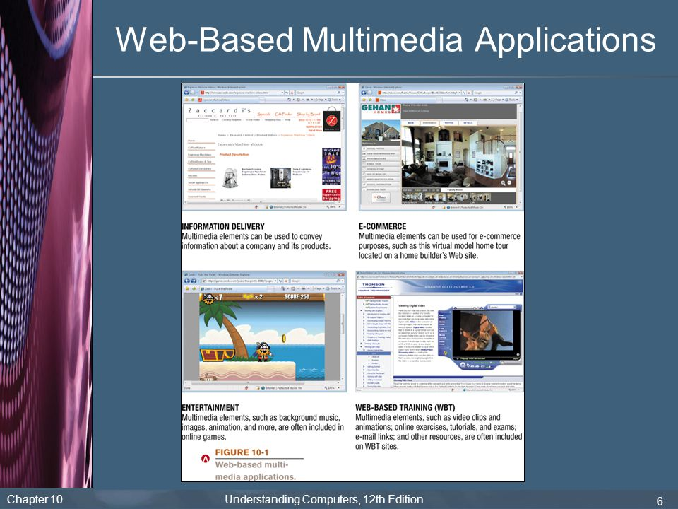 Chapter 10 Understanding Computers, 12th Edition 17 Multimedia Elements Thumbnail image: Small image on a Web page that is linked to a larger, higher-resolution image – Used to save loading time since only users who click the thumbnail view the full-quality image