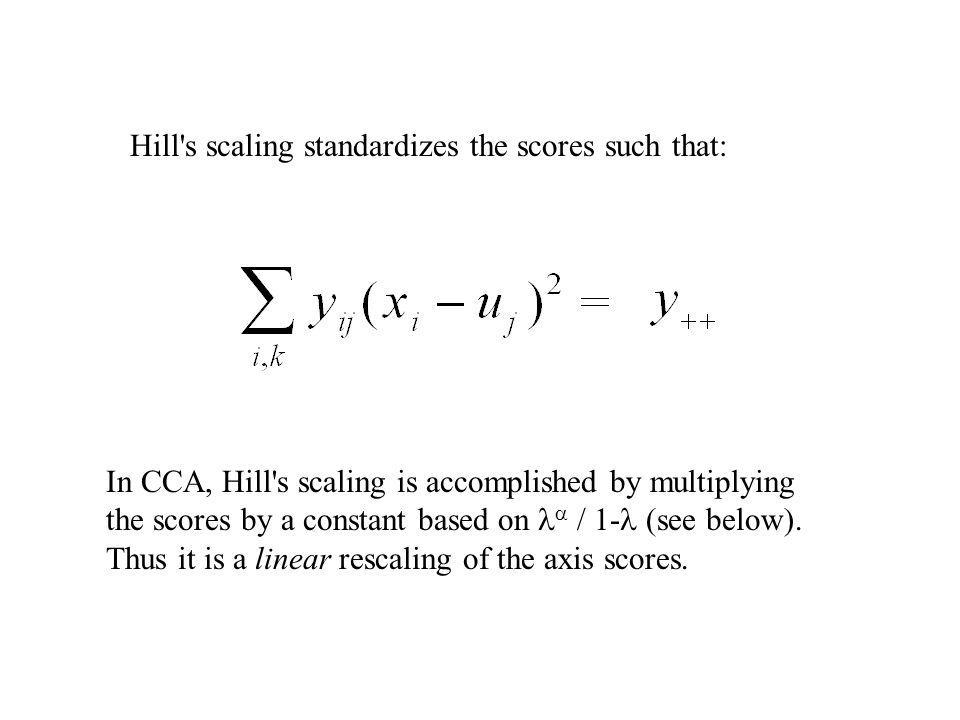 Hill's scaling standardizes the scores such that: In CCA, Hill's scaling is accomplished by multiplying the scores by a constant based on / 1- (see be