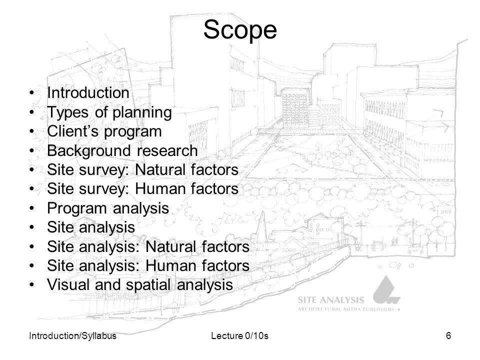 Introduction/SyllabusLecture 0/10s6 Scope Introduction Types of planning Clients program Background research Site survey: Natural factors Site survey: