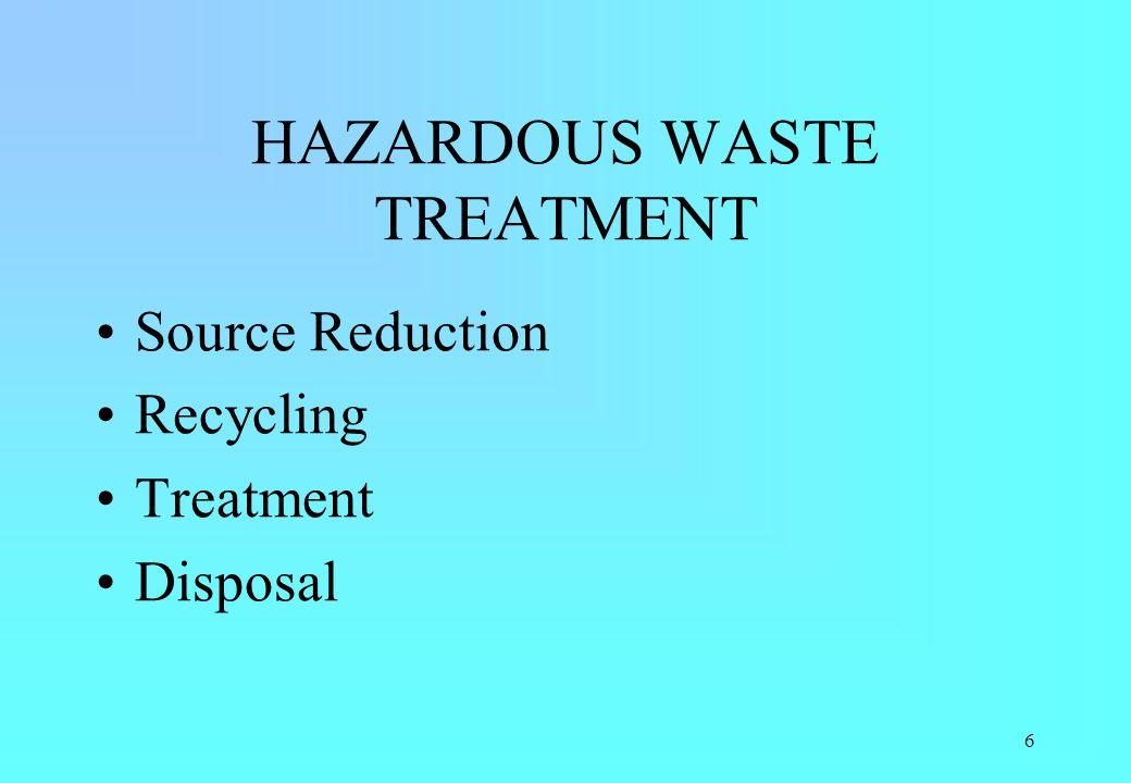 6 HAZARDOUS WASTE TREATMENT Source Reduction Recycling Treatment Disposal