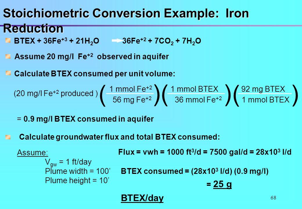 68 Stoichiometric Conversion Example: Iron Reduction BTEX + 36Fe +3 + 21H 2 O 36Fe +2 + 7CO 2 + 7H 2 O Assume 20 mg/l Fe +2 observed in aquifer Calcul