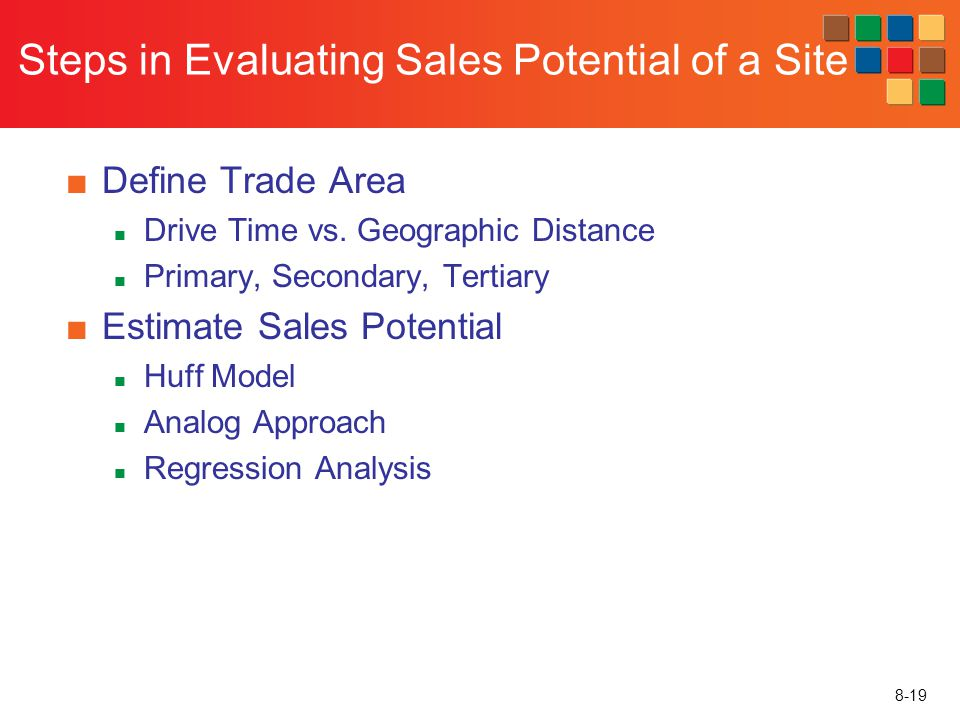 8-19 Steps in Evaluating Sales Potential of a Site Define Trade Area Drive Time vs. Geographic Distance Primary, Secondary, Tertiary Estimate Sales Po