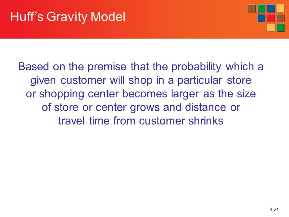 8-21 Huffs Gravity Model Based on the premise that the probability which a given customer will shop in a particular store or shopping center becomes l