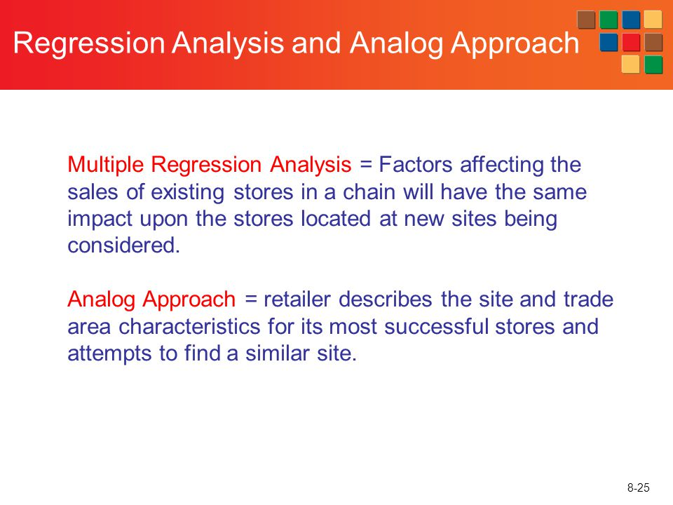 8-25 Regression Analysis and Analog Approach Multiple Regression Analysis = Factors affecting the sales of existing stores in a chain will have the sa