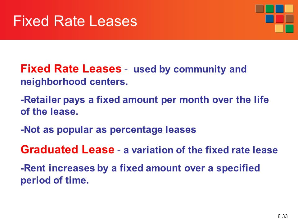 8-33 Fixed Rate Leases Fixed Rate Leases - used by community and neighborhood centers. -Retailer pays a fixed amount per month over the life of the le