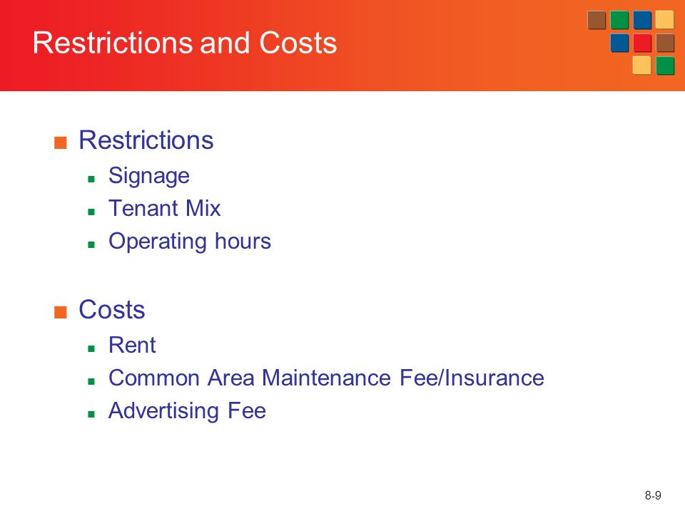 8-9 Restrictions and Costs Restrictions Signage Tenant Mix Operating hours Costs Rent Common Area Maintenance Fee/Insurance Advertising Fee