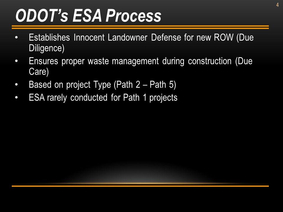 4 Establishes Innocent Landowner Defense for new ROW (Due Diligence) Ensures proper waste management during construction (Due Care) Based on project T