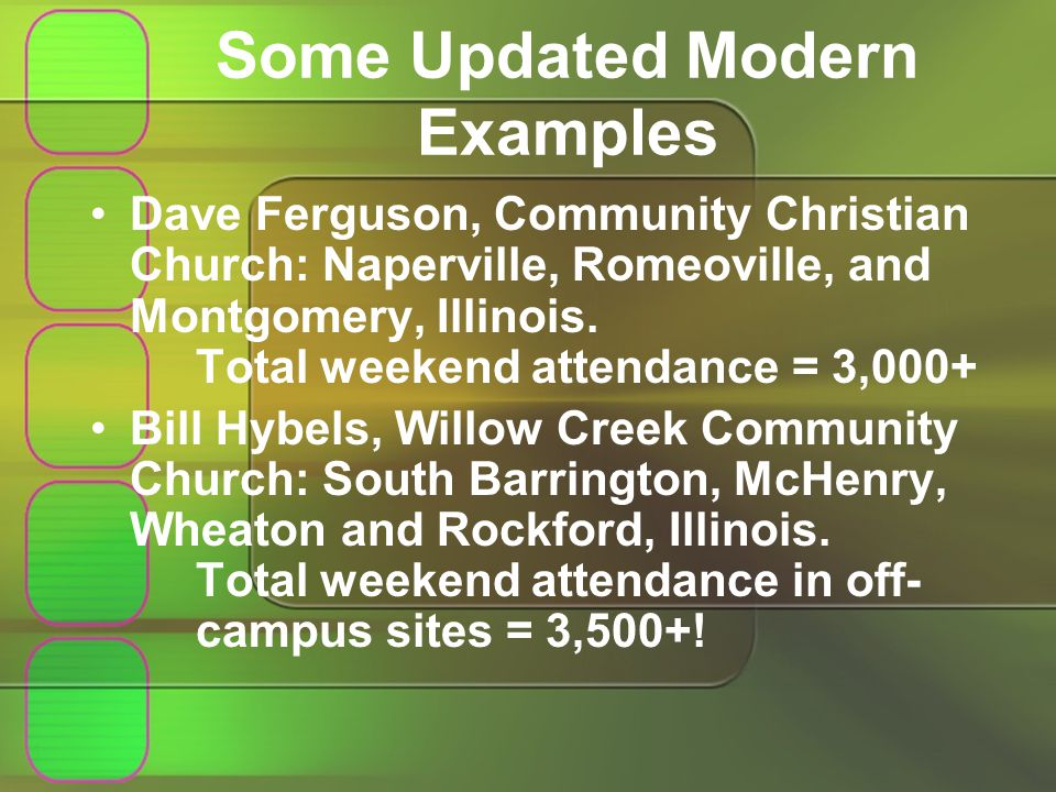 Some Updated Modern Examples Dave Ferguson, Community Christian Church: Naperville, Romeoville, and Montgomery, Illinois.