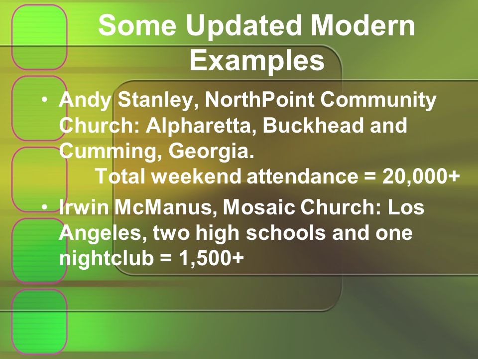 Some Updated Modern Examples Andy Stanley, NorthPoint Community Church: Alpharetta, Buckhead and Cumming, Georgia.
