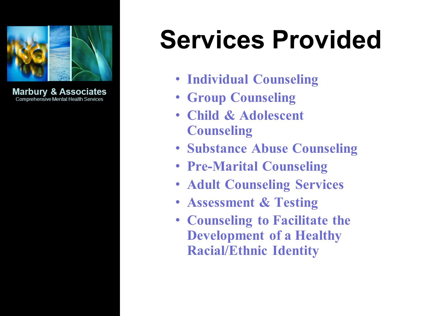 Services Provided Individual Counseling Group Counseling Child & Adolescent Counseling Substance Abuse Counseling Pre-Marital Counseling Adult Counseling Services Assessment & Testing Counseling to Facilitate the Development of a Healthy Racial/Ethnic Identity Marbury & Associates Comprehensive Mental Health Services