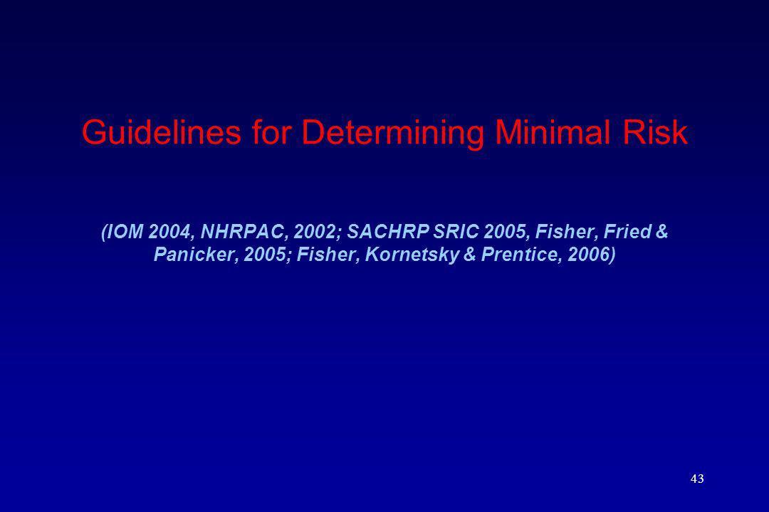 43 Guidelines for Determining Minimal Risk (IOM 2004, NHRPAC, 2002; SACHRP SRIC 2005, Fisher, Fried & Panicker, 2005; Fisher, Kornetsky & Prentice, 2006)
