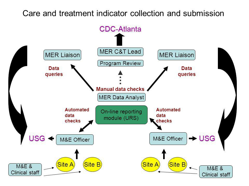 Care and treatment indicator collection and submission M&E Officer On-line reporting module (URS) MER Data Analyst Automated data checks Site BSite A