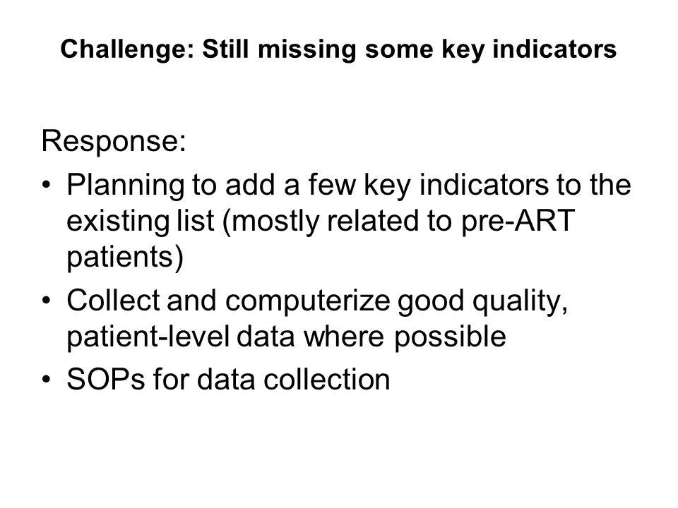Challenge: Still missing some key indicators Response: Planning to add a few key indicators to the existing list (mostly related to pre-ART patients)