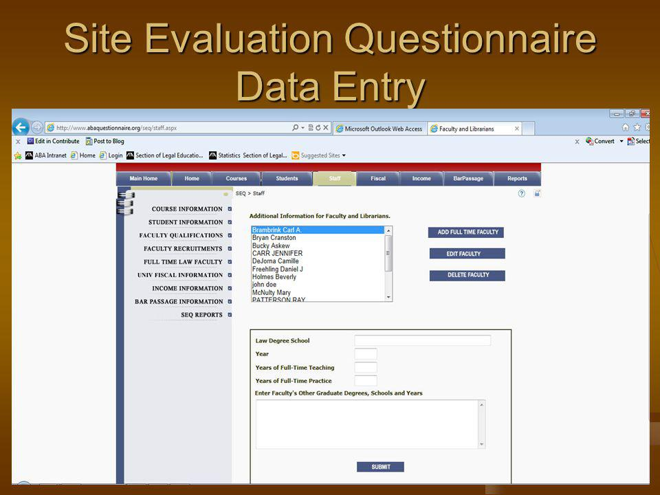 Site Evaluation Questionnaire Data Entry