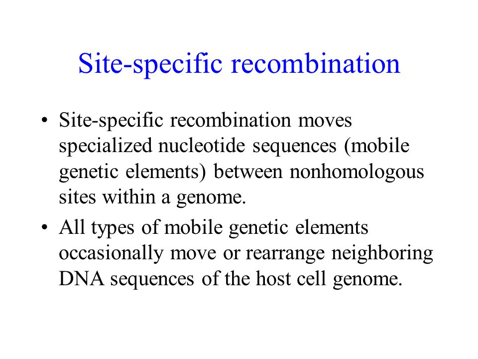 Site-specific recombination Site-specific recombination moves specialized nucleotide sequences (mobile genetic elements) between nonhomologous sites w