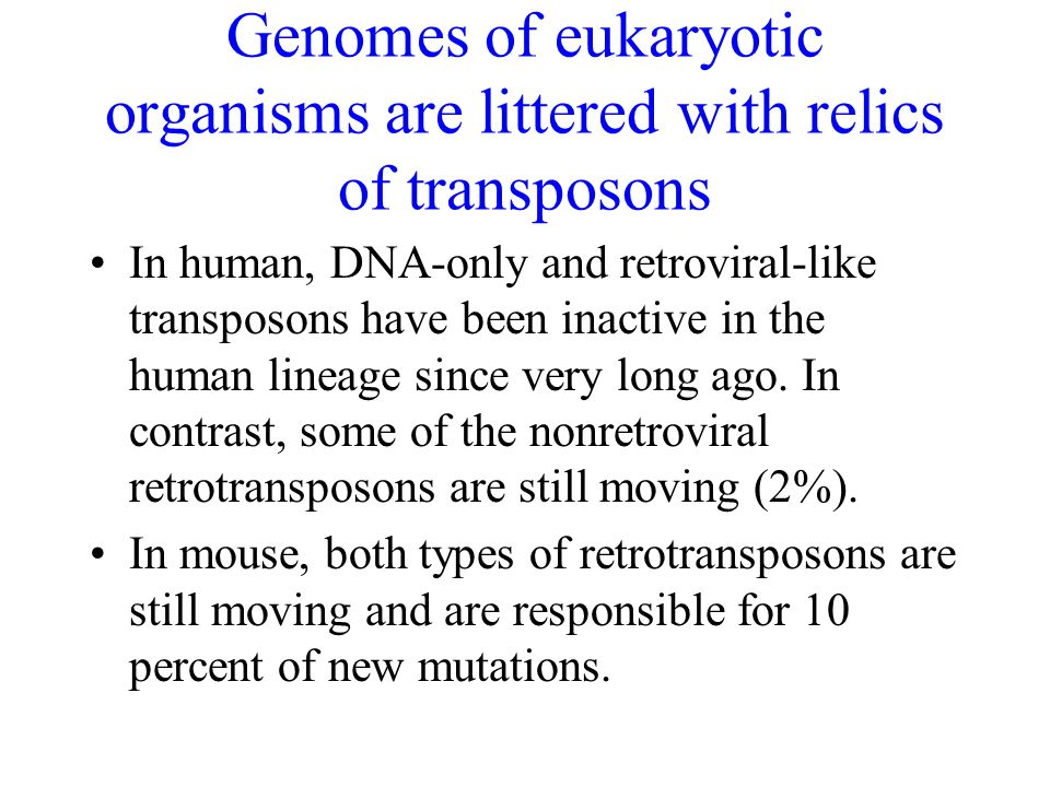 In human, DNA-only and retroviral-like transposons have been inactive in the human lineage since very long ago. In contrast, some of the nonretroviral