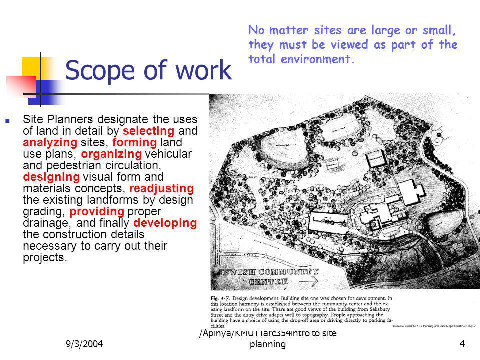 9/3/2004 /Apinya/KMUTTarc354intro to site planning4 Scope of work Site Planners designate the uses of land in detail by selecting and analyzing sites,