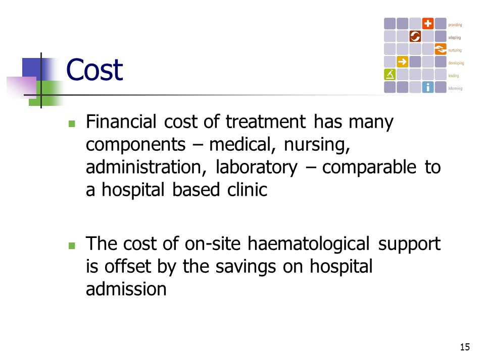 15 Cost Financial cost of treatment has many components – medical, nursing, administration, laboratory – comparable to a hospital based clinic The cost of on-site haematological support is offset by the savings on hospital admission