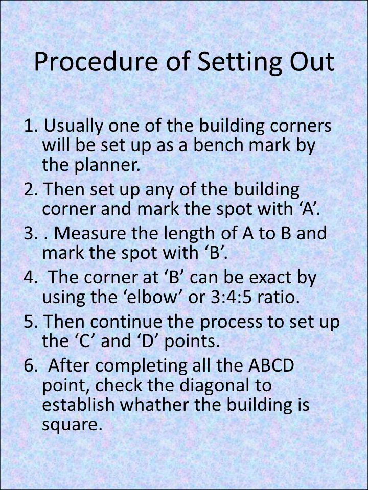 Procedure of Setting Out 1.